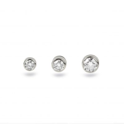 18K White Gold Diamond Cartilage Piercing Screw Back Stud