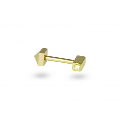 Geometric 18k Yellow Gold Block Diamond Piercing Screw Back Stud