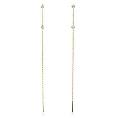 18k Yellow Gold Two Bezel Set Diamonds Chain Threader Earrings