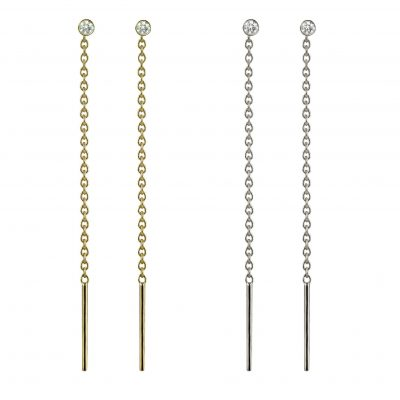 18k Gold Diamond Bead Chain Threaders