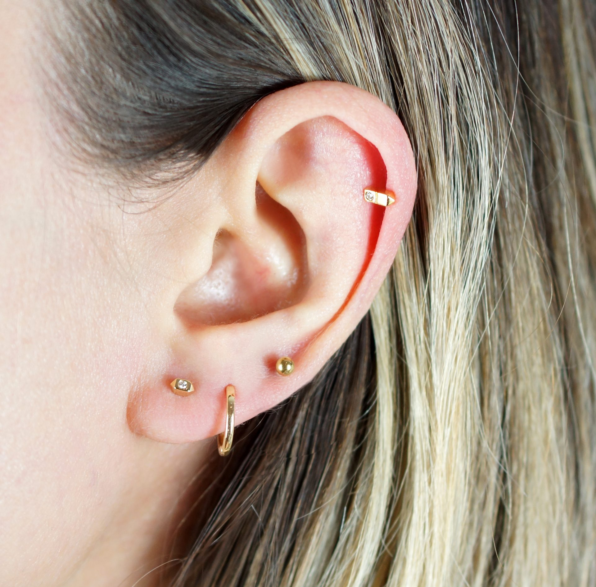 Create your own curated ear with lena cohen london luxury piercing diamond stud earring