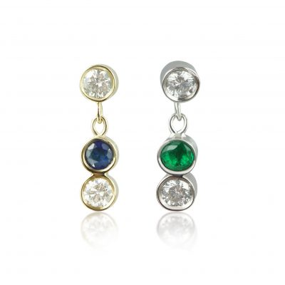 Color Sway 18k Gold Diamond Piercing Stud