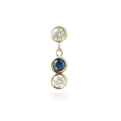 Sapphire Sway 18k Yellow Gold Diamond Piercing Stud