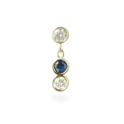 Sapphire Sway Yellow Gold Diamond Piercing Stud