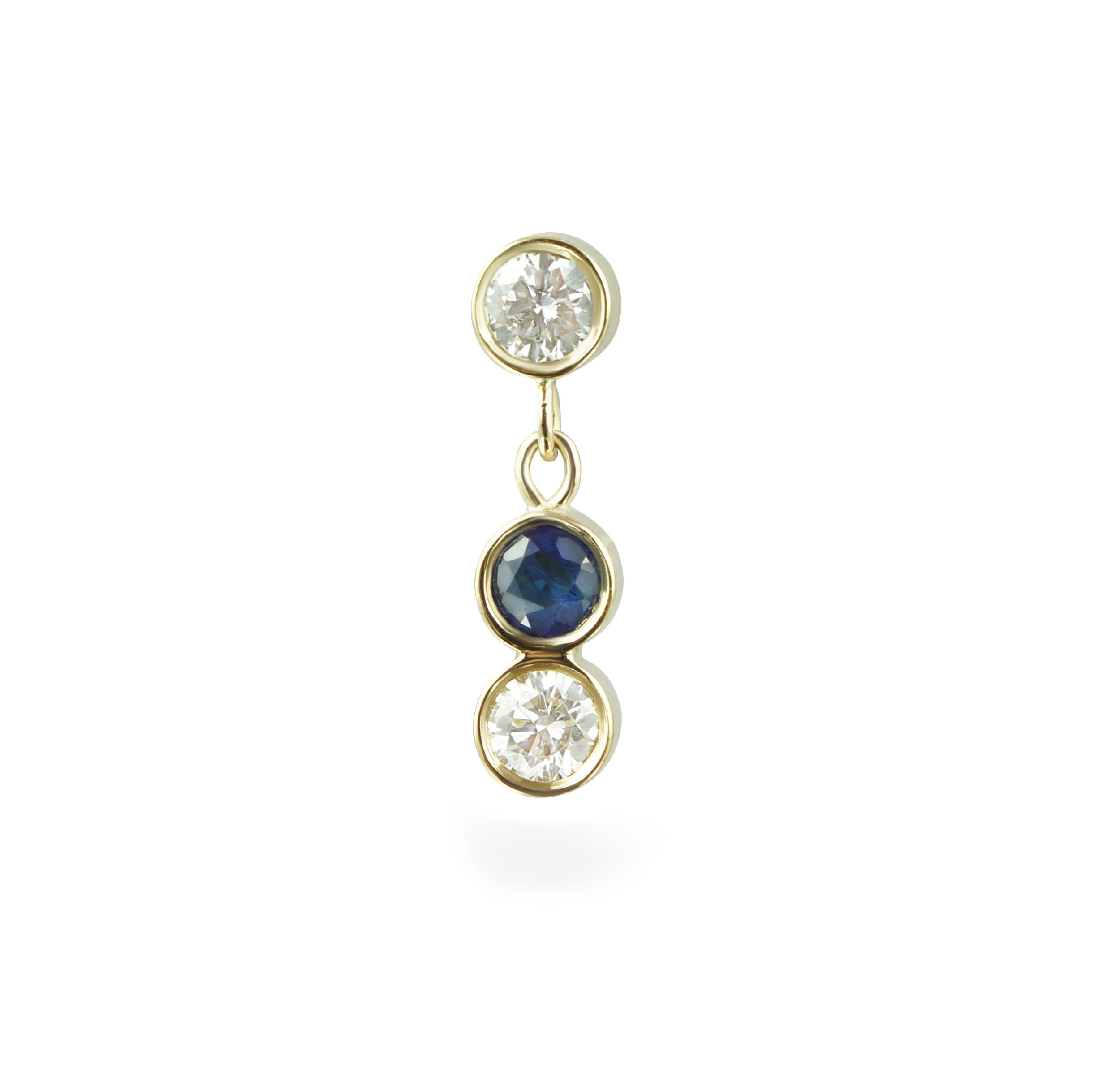 Sway Diamond Sapphire Cartilage Piercing Stud 18k Yellow Gold