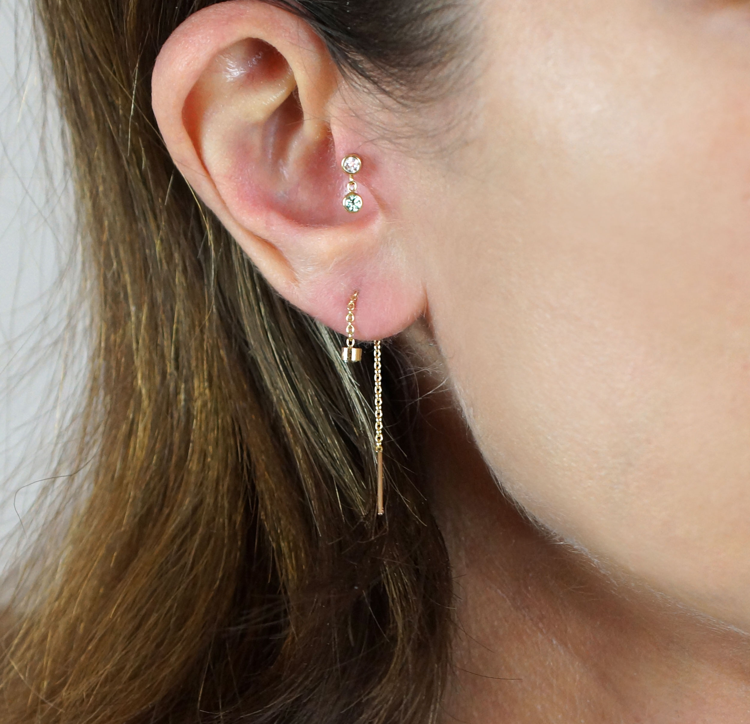 Ear Styling by Lena Cohen Fine Jewellery Buy 18k gold luxury piercings for #tragus, #helix, #daith, #cartilage, #earlobe. Made in London. Free shipping on all orders!‬