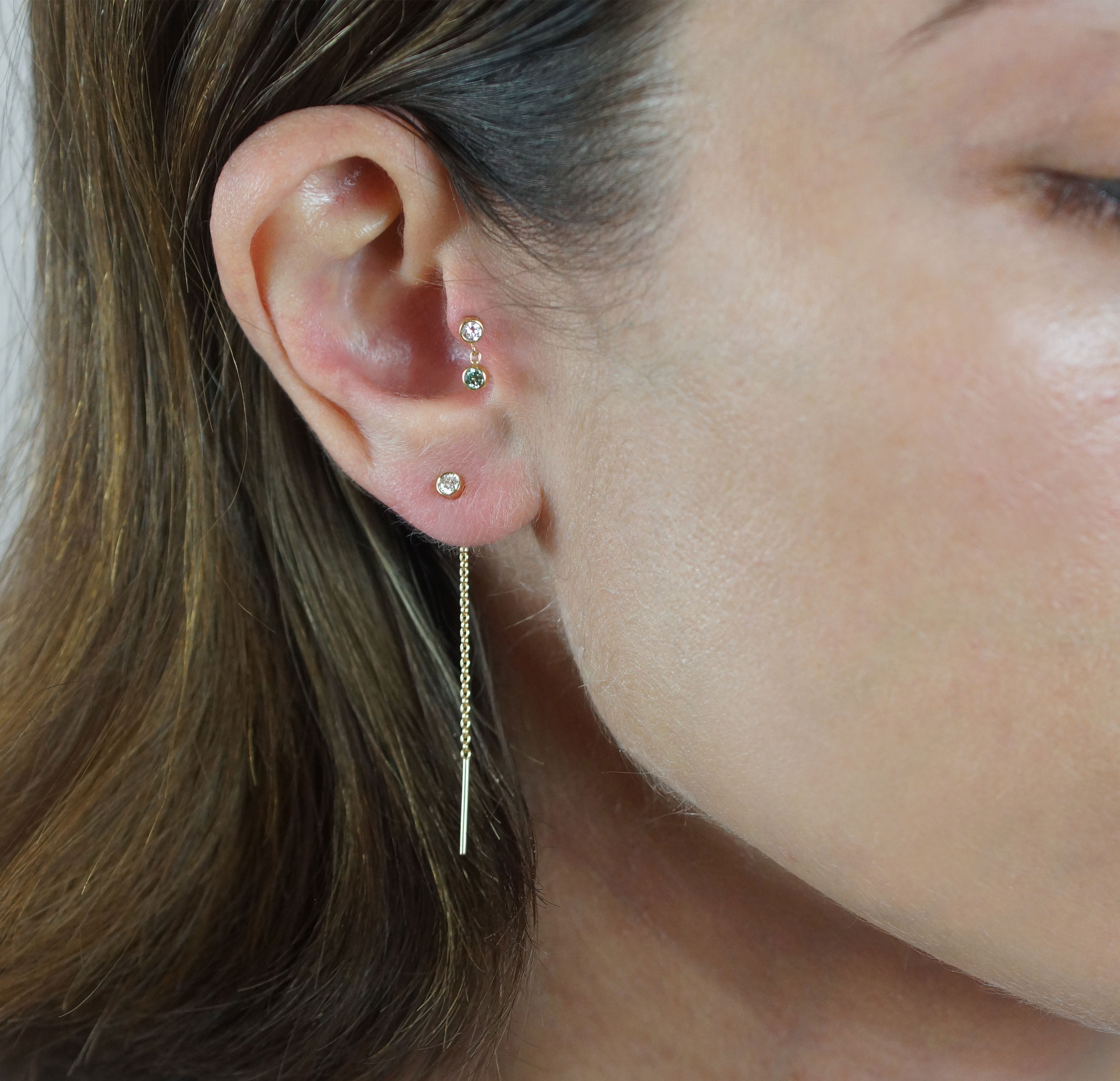 Ear Styling by Lena Cohen Fine Jewellery Buy 18k gold luxury piercings for #tragus, #helix, #daith, #cartilage, #earlobe. Made in London. Free shipping on all orders!
