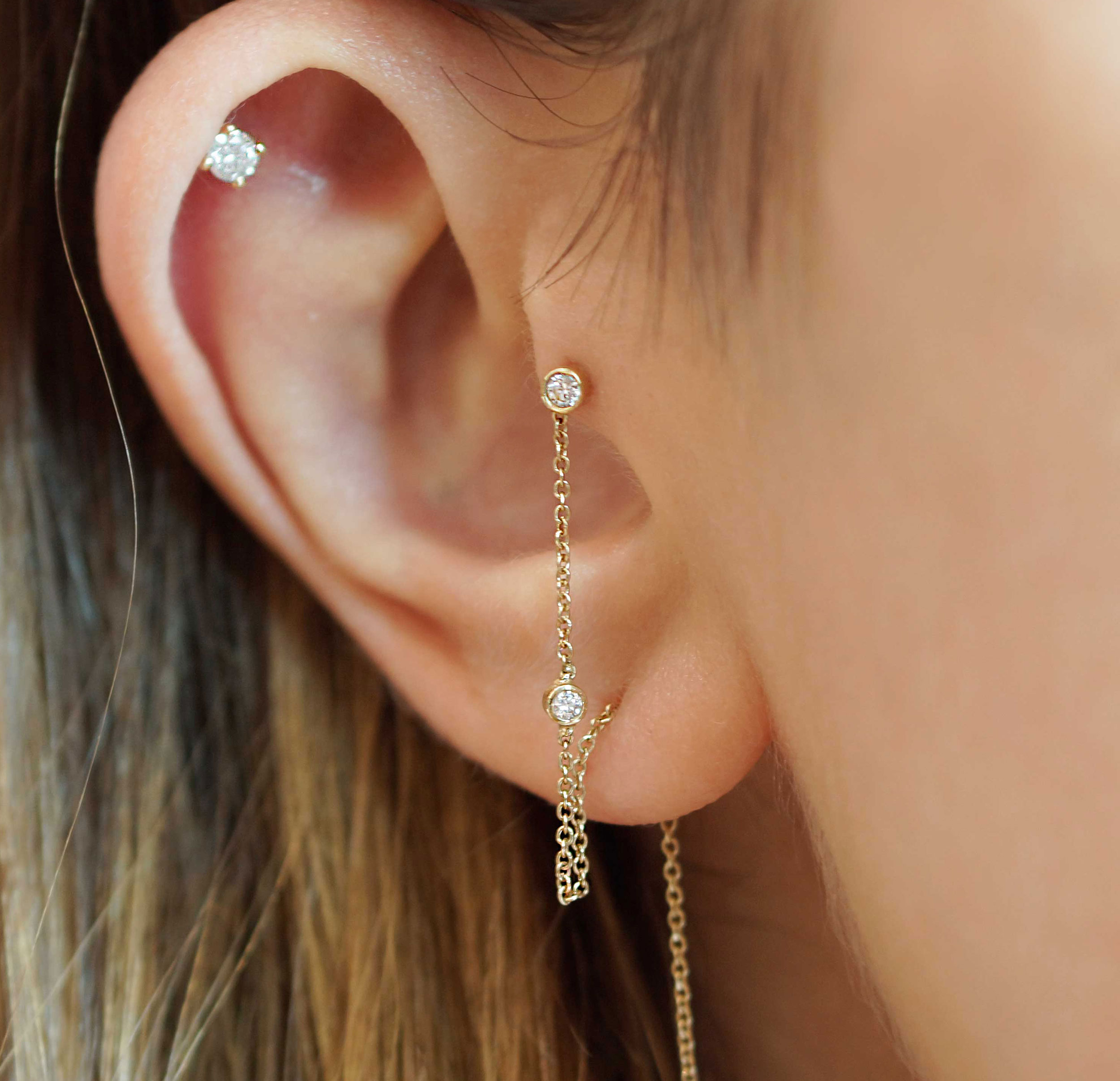 Where to buy golden piercing jewellery We make 18k solid gold cartilage earrings We sell golden piercing earring Buy fine piercing earrings reputable London's brand