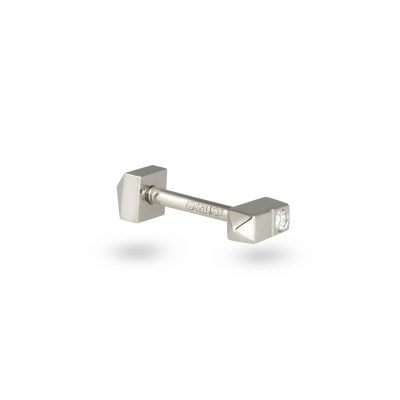 18k White Domino Minimalist Diamond Stud