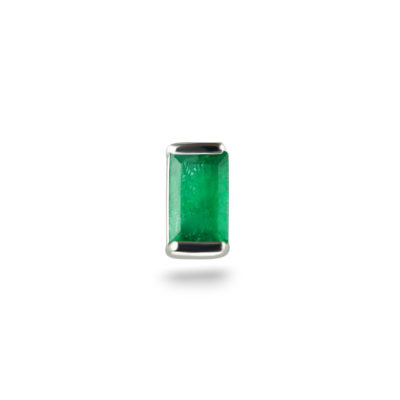 White Gold Single Baguette Emerald Cartilage Piercing Stud