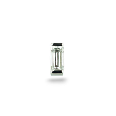 White Gold Single Baguette Diamond Piercing Stud