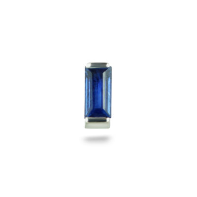 White Gold Single Baguette Sapphire Piercing Stud