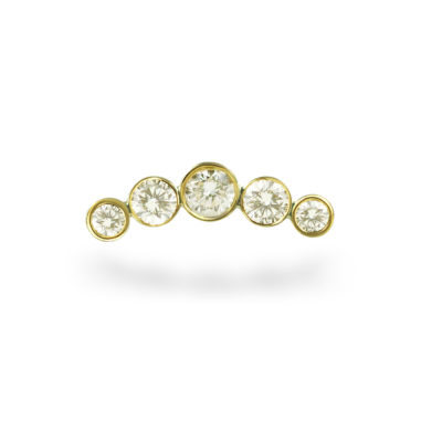 Yellow Gold Diamond Crescent Piercing Stud