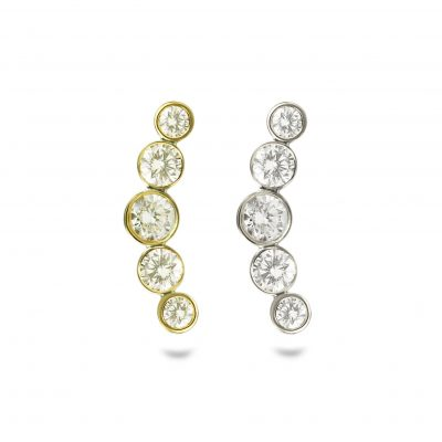 18k Gold Diamond Helix Crescent Stud