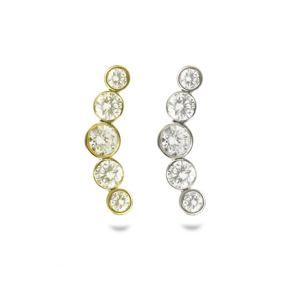 Helix Crescent diamond 18k white yellowgold helix cartilage piercing earring handmade with screw back