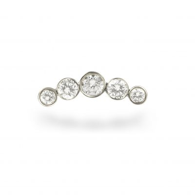 18k White Gold Diamond Crescent Stud