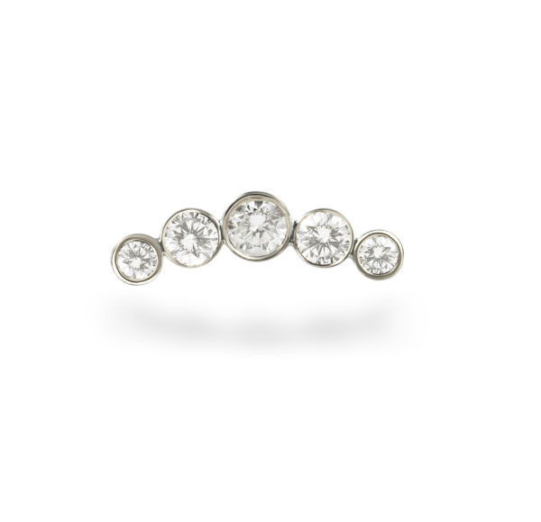 Crescent diamond 18k white gold helix cartilage piercing earring handmade and polished to a mirror shine.