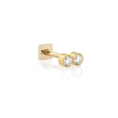 Milgrain Duo Diamond 18k Yellow Gold Stud