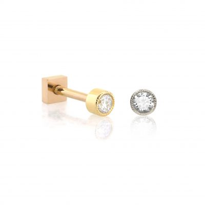 Milgrain 18k Gold Single Diamond Cartilage Stud