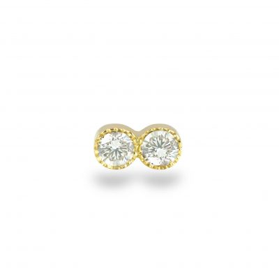 Milgrain Duo Diamond Yellow Gold Piercing Stud