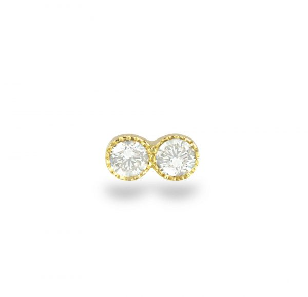 elegant piercing stud features a single glittering diamond with delicate milgrain edging adding a subtly vintage effect