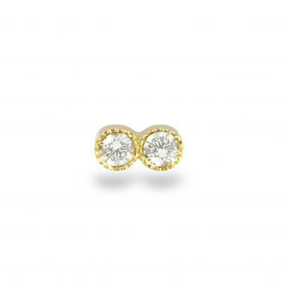Milgrain Set Double Diamond 18k Yellow Gold Piercing Stud Earring