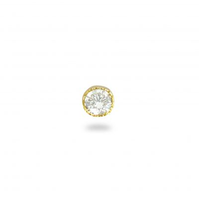 Milgrain 18k Yellow Gold Single Diamond Stud