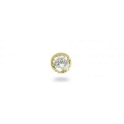 Yellow Milgrain Single Diamond Piercing Stud