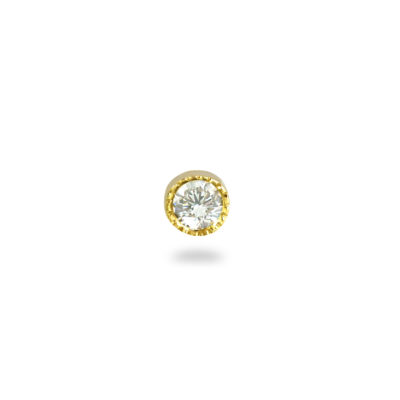 Milgrain Set Single Diamond 18k Yellow Gold Piercing Stud Earring