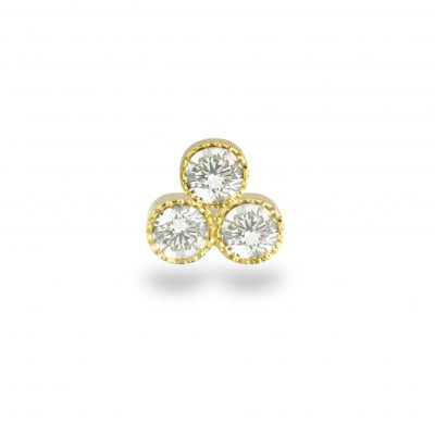 Milgrain Trio Diamond Yellow Gold Piercing Stud