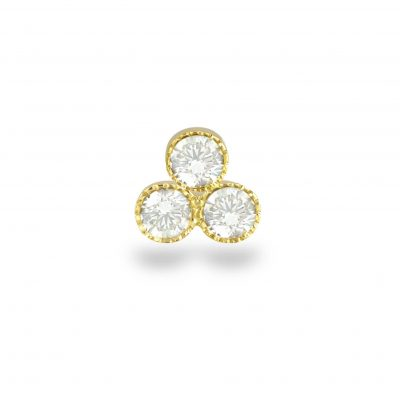 Milgrain Trio Diamond 18k Yellow Gold Stud