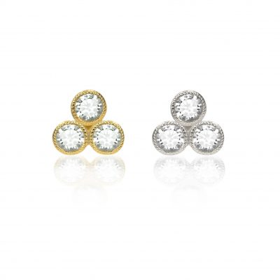 Milgrain Trio Diamond 18k Gold  Stud