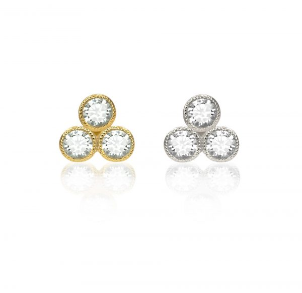 glittering diamonds with delicate milgrain edging adding a subtly vintage effect