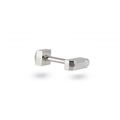 18k White Gold Minimalist Diamond Piercing Stud