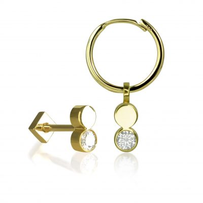 Fusion 18k Yellow Gold Diamond Stud/Charm/Set