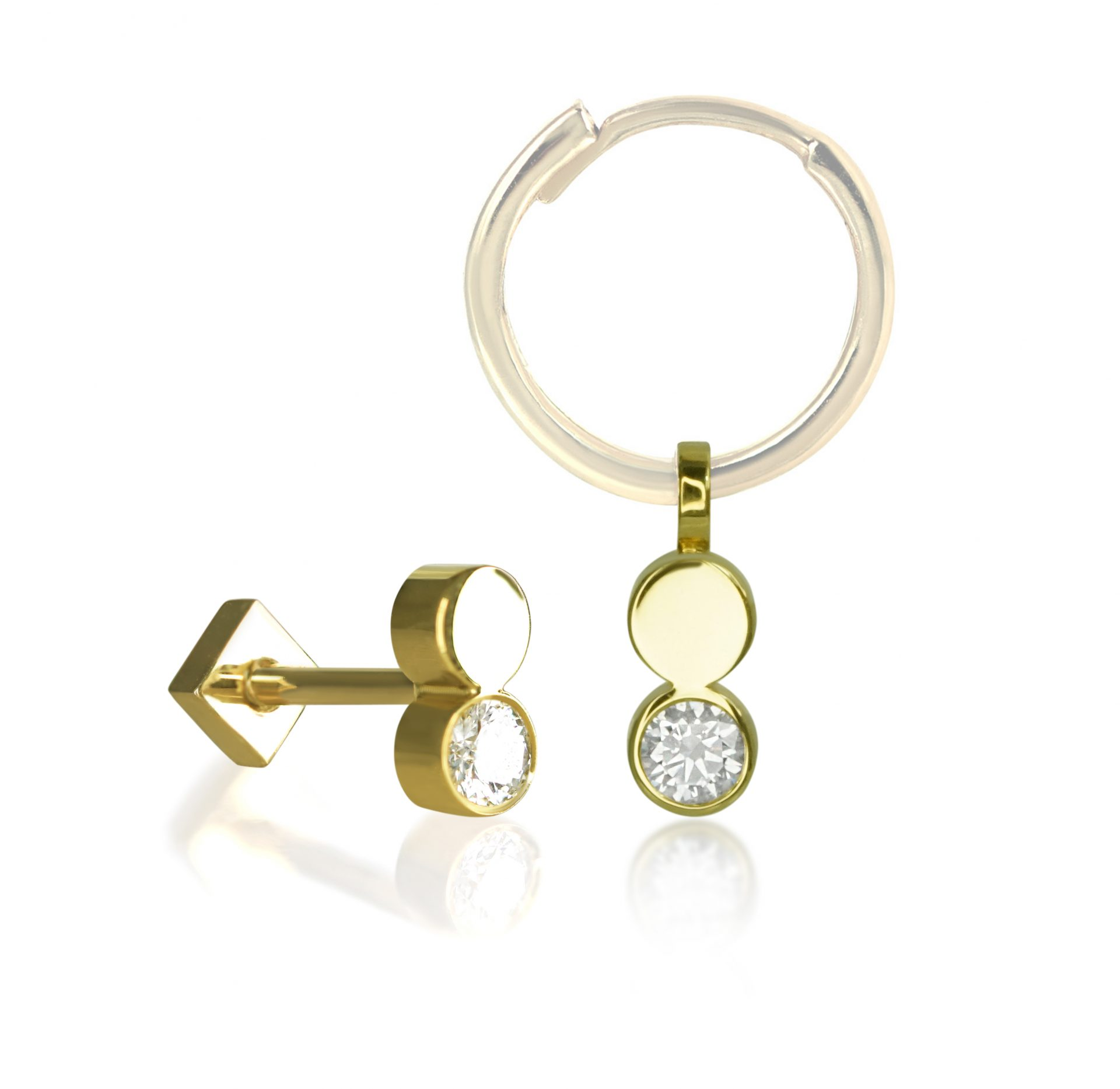 high-quality-cartilage-earrings-18k-white-yellow-gold-huggie-hoop-charms-luxury-piercings-lena-cohen-british-designer