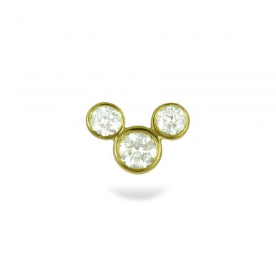 Golden Mickey 18k Yellow Gold Diamond Stud