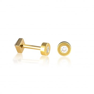 Basic 18k Yellow Gold Diamond Stud