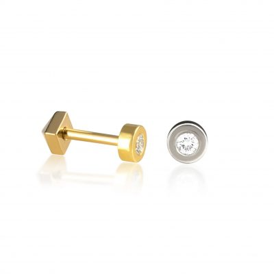 Basic 18k Gold Diamond Cartilage Stud