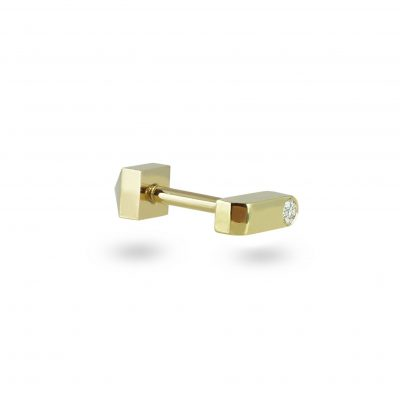 18k Yellow Gold Minimalist Diamond Piercing Stud