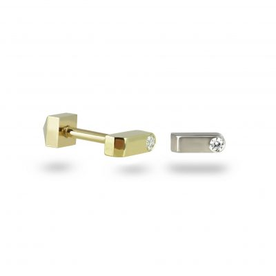 18k Gold Unisex Diamond Piercing Stud