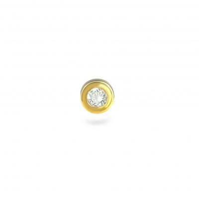 Golden Bezel Diamond Cartilage Piercing Stud