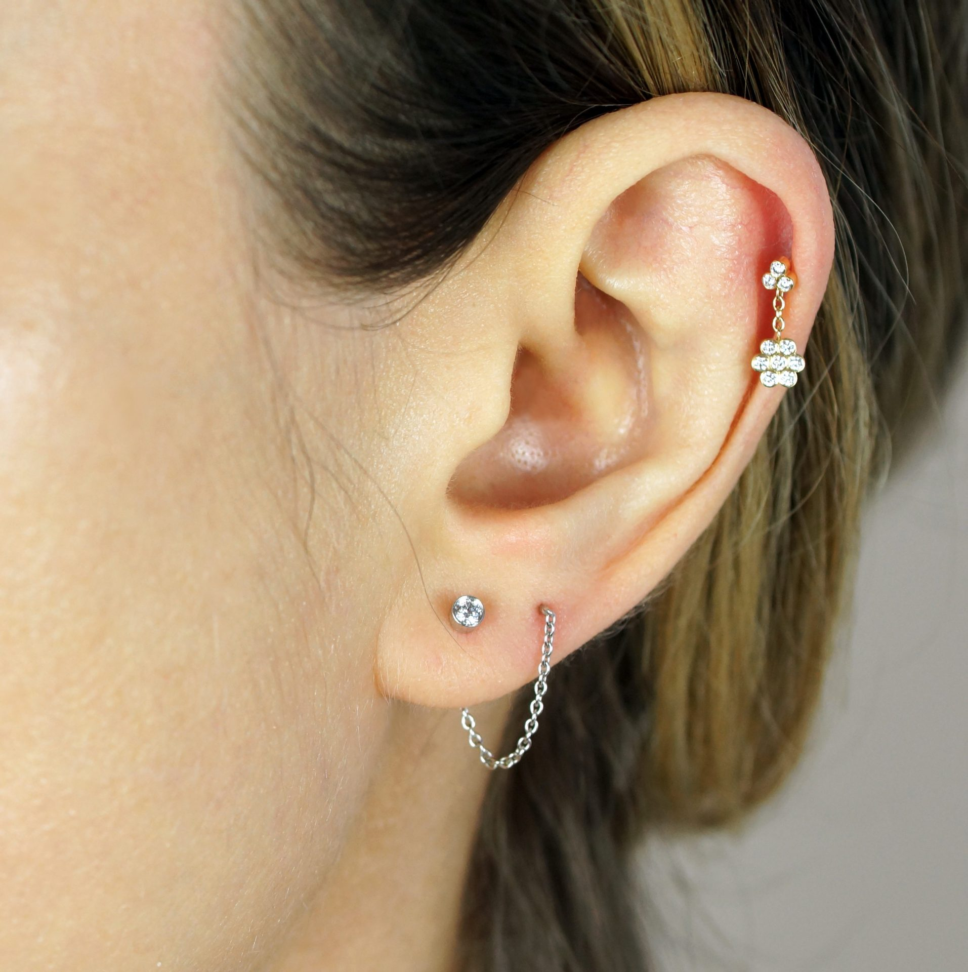 luxury piercing ideas curated ear 18k gold natural diamond stud helix tragus cartilage