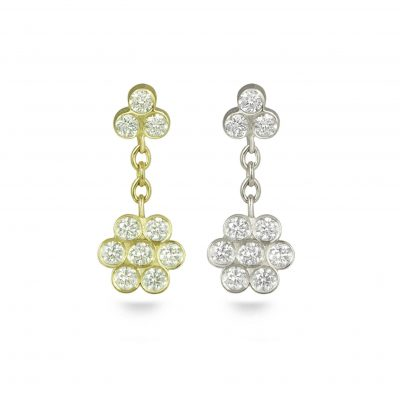 Swinging Ten Diamonds 18k Gold Flower Stud