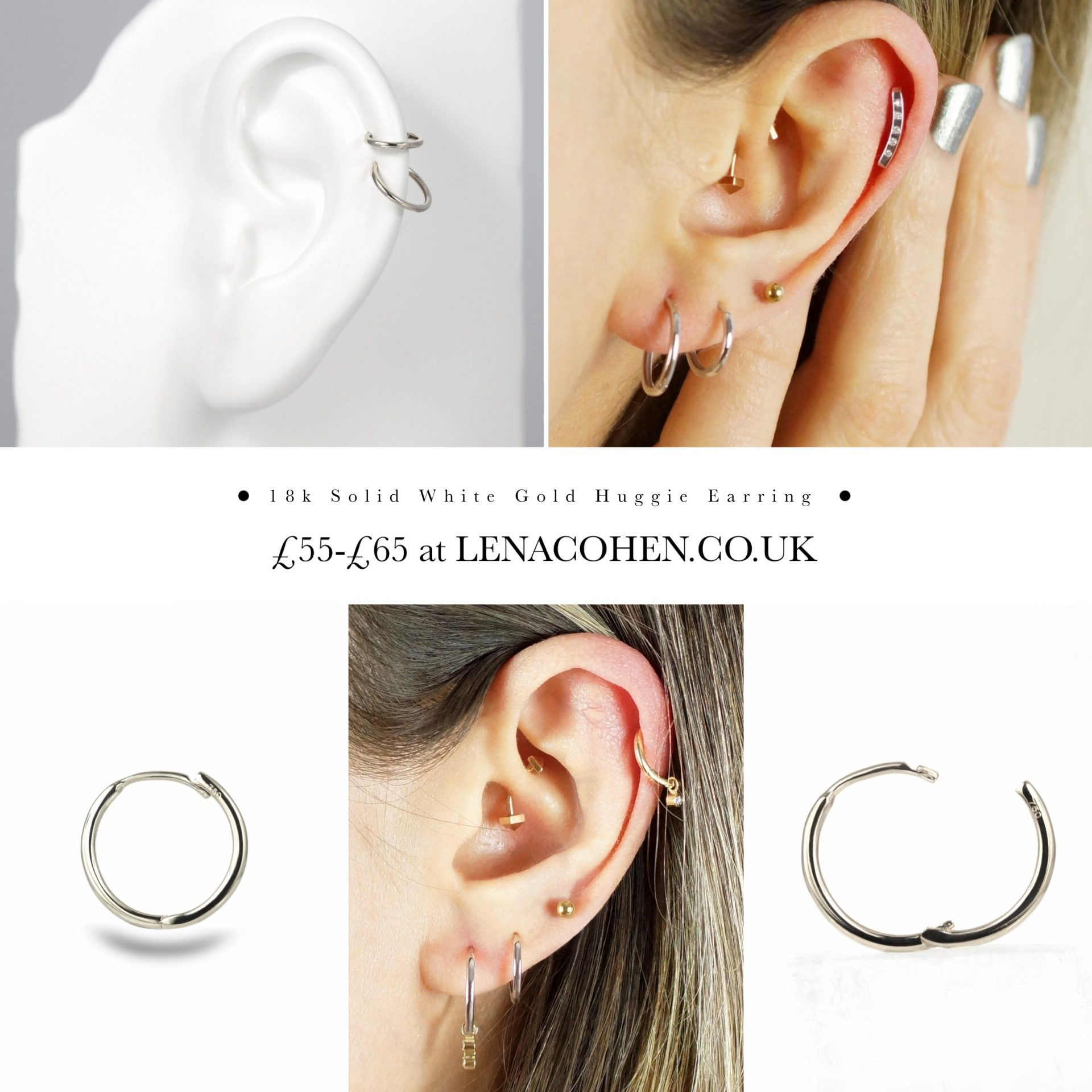 The Huggie Clicker What are these? style of little hoop earrings that 'hug' your earlobe or cartilage hence the name Huggie. The clicker is the mechanism that locks the Huggie securely in place