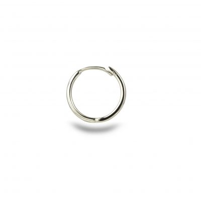 18k Solid White Gold Huggie Hoop Earring