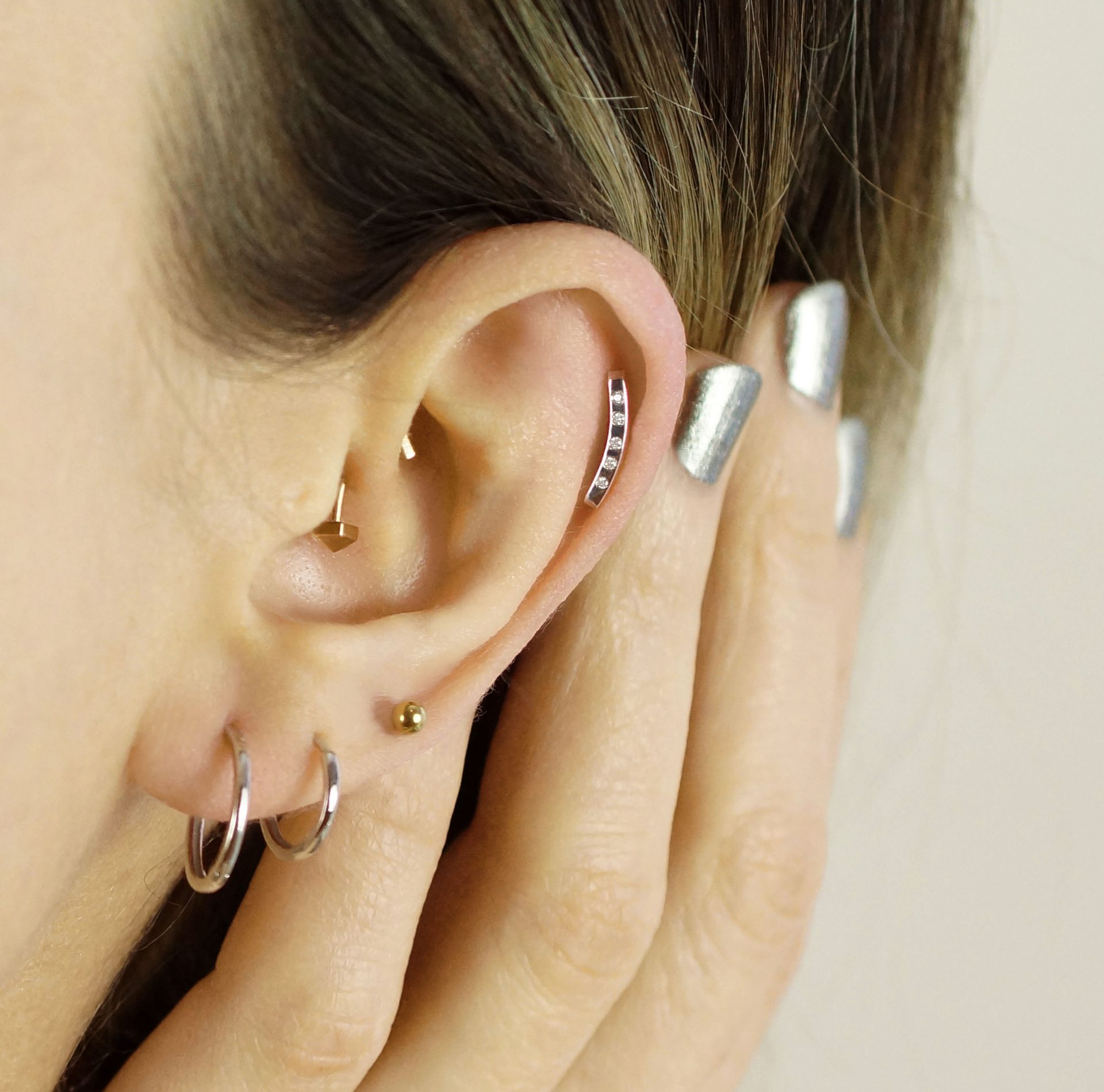 What is the most popular area for piercings ? A very good choice for multiple ear piercing combinations in 2020
