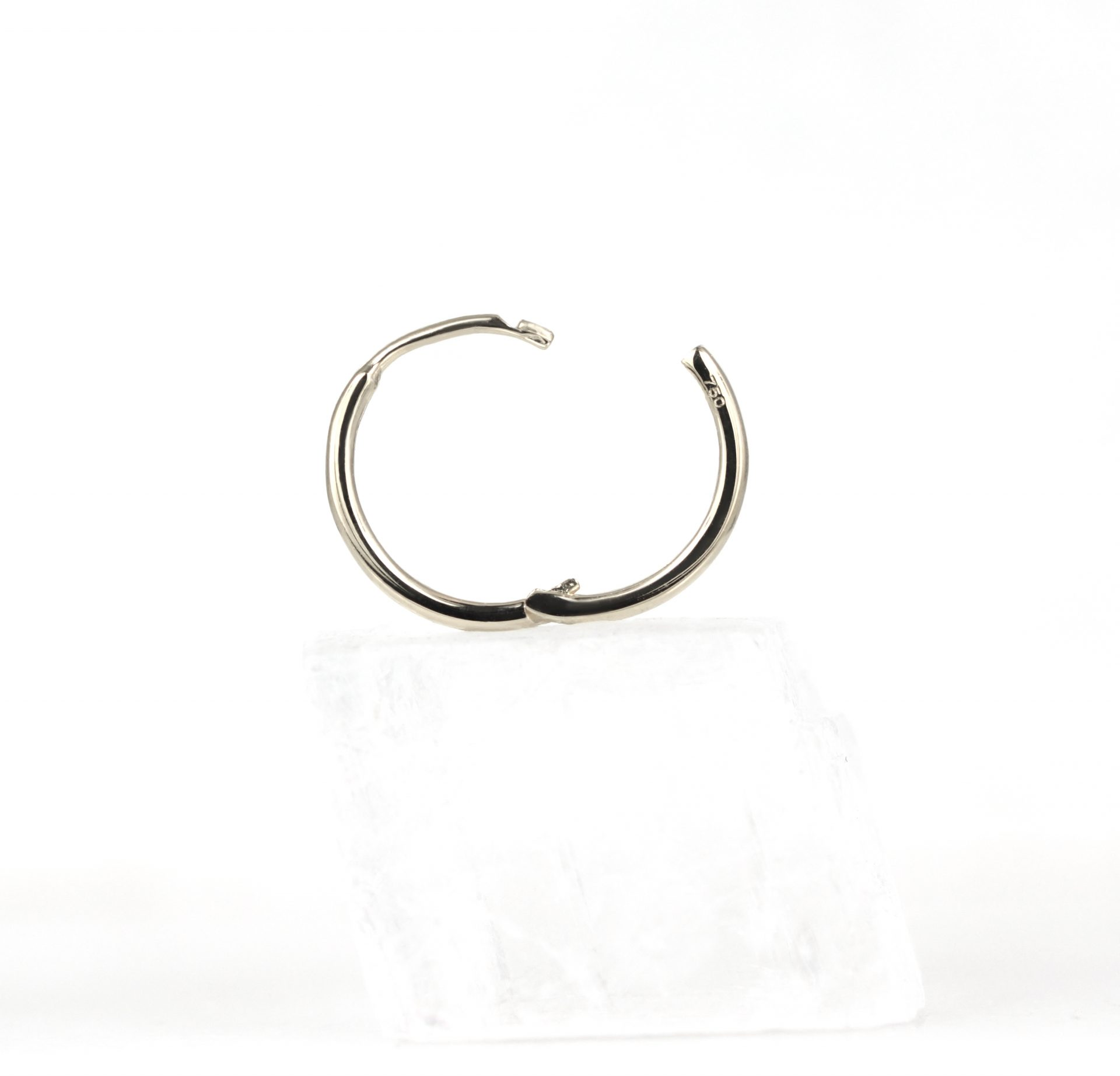 Huggie-Hoop-Earrings-Luxury-Piercing-Lena-Cohen-London-18k-Solid-White-Gold-