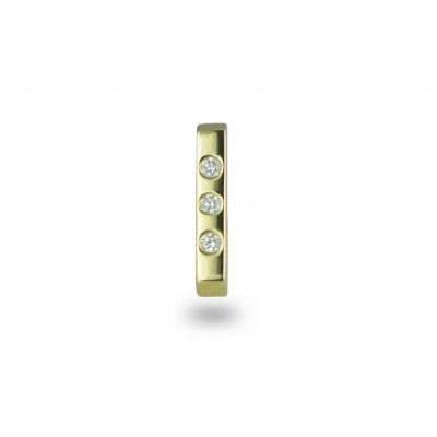 Minimalist 18k Yellow Gold Bar Diamond Stud