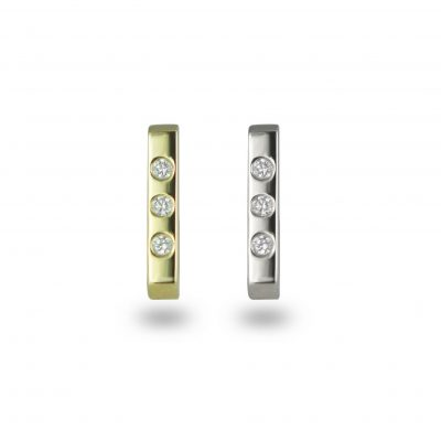 Minimalist 18k Gold Bar Diamond Stud